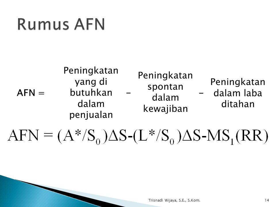 Trisnadi Wijaya, S.E., S.Kom.14 AFN = Peningkatan yang di butuhkan dalam penjualan Peningkatan spontan dalam kewajiban Peningkatan dalam laba ditahan