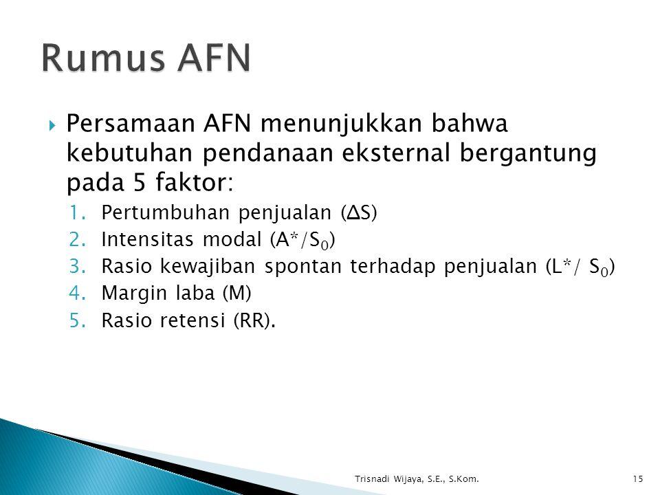  Persamaan AFN menunjukkan bahwa kebutuhan pendanaan eksternal bergantung pada 5 faktor: 1.Pertumbuhan penjualan (ΔS) 2.Intensitas modal (A*/S 0 ) 3.