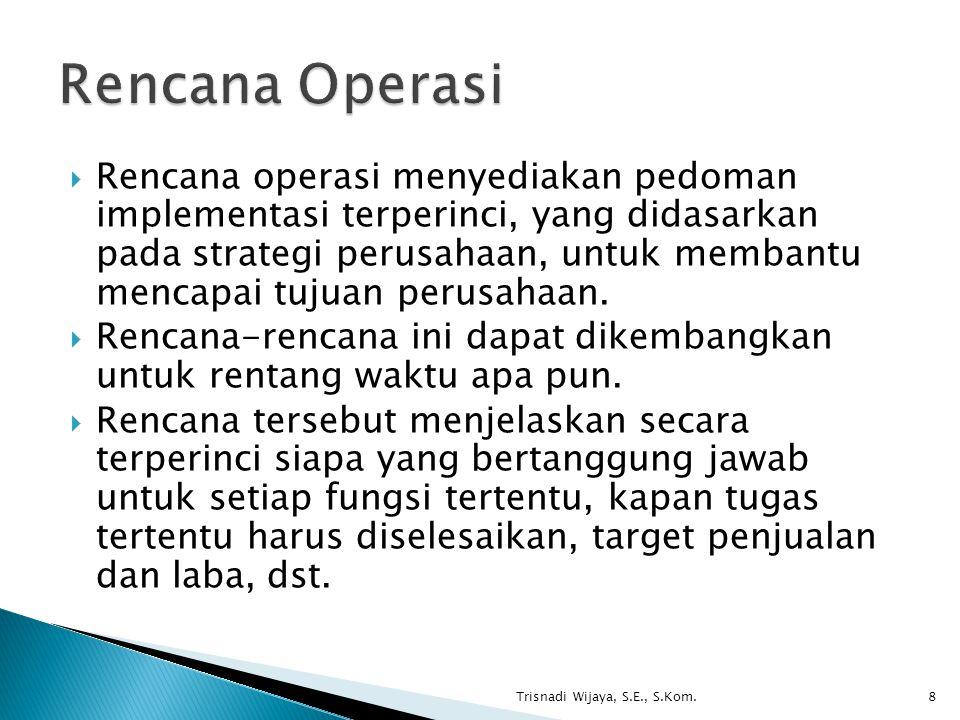  Rencana operasi menyediakan pedoman implementasi terperinci, yang didasarkan pada strategi perusahaan, untuk membantu mencapai tujuan perusahaan. 
