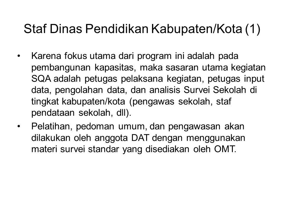 Staf Dinas Pendidikan Kabupaten/Kota (1) Karena fokus utama dari program ini adalah pada pembangunan kapasitas, maka sasaran utama kegiatan SQA adalah