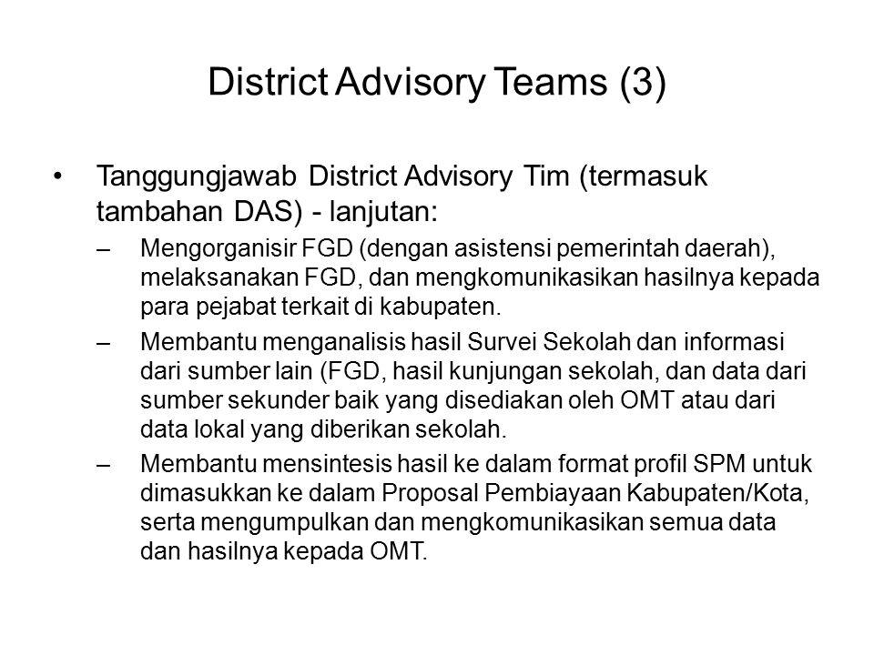District Advisory Teams (3) Tanggungjawab District Advisory Tim (termasuk tambahan DAS) - lanjutan: –Mengorganisir FGD (dengan asistensi pemerintah da