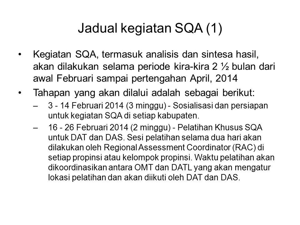Jadual kegiatan SQA (1) Kegiatan SQA, termasuk analisis dan sintesa hasil, akan dilakukan selama periode kira-kira 2 ½ bulan dari awal Februari sampai