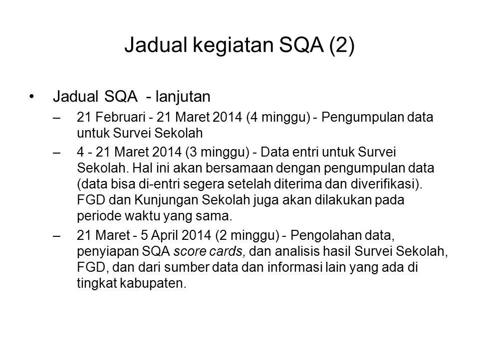 Jadual kegiatan SQA (2) Jadual SQA - lanjutan –21 Februari - 21 Maret 2014 (4 minggu) - Pengumpulan data untuk Survei Sekolah –4 - 21 Maret 2014 (3 mi