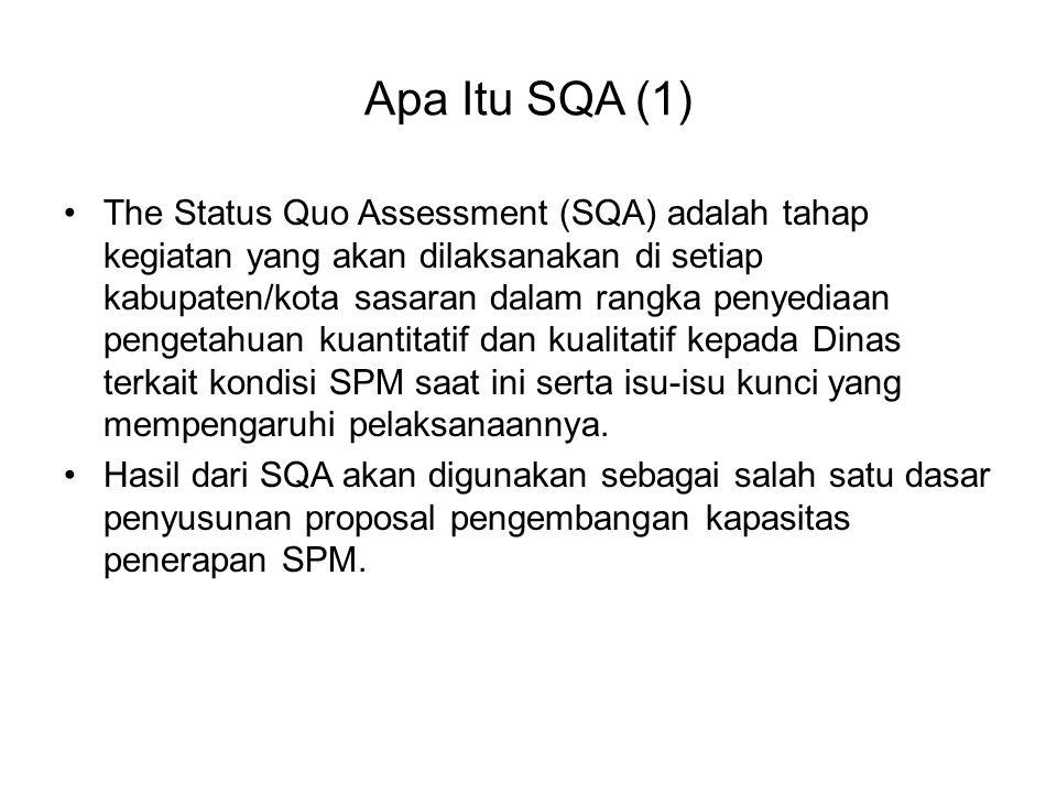 Apa Itu SQA (1) The Status Quo Assessment (SQA) adalah tahap kegiatan yang akan dilaksanakan di setiap kabupaten/kota sasaran dalam rangka penyediaan