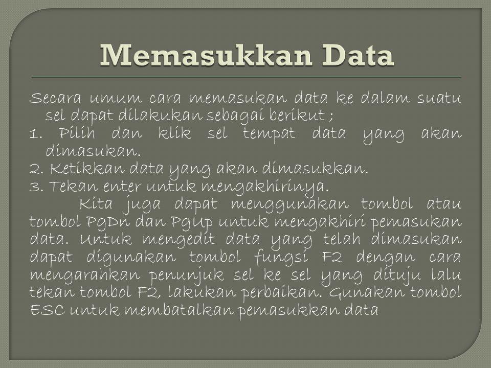 Secara umum cara memasukan data ke dalam suatu sel dapat dilakukan sebagai berikut ; 1.