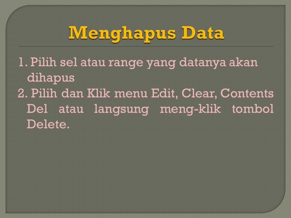 1.Pilih sel atau range yang datanya akan dihapus 2.
