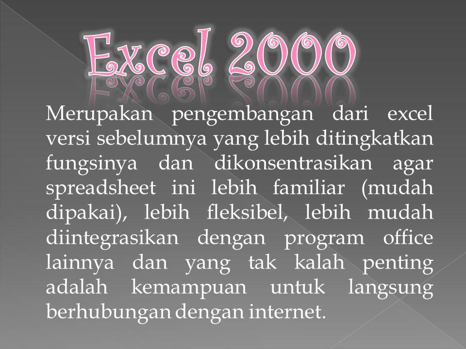 Excel 2000 baru dapat dijalankan apabila sistem operasi windows telah kita aktifkan.