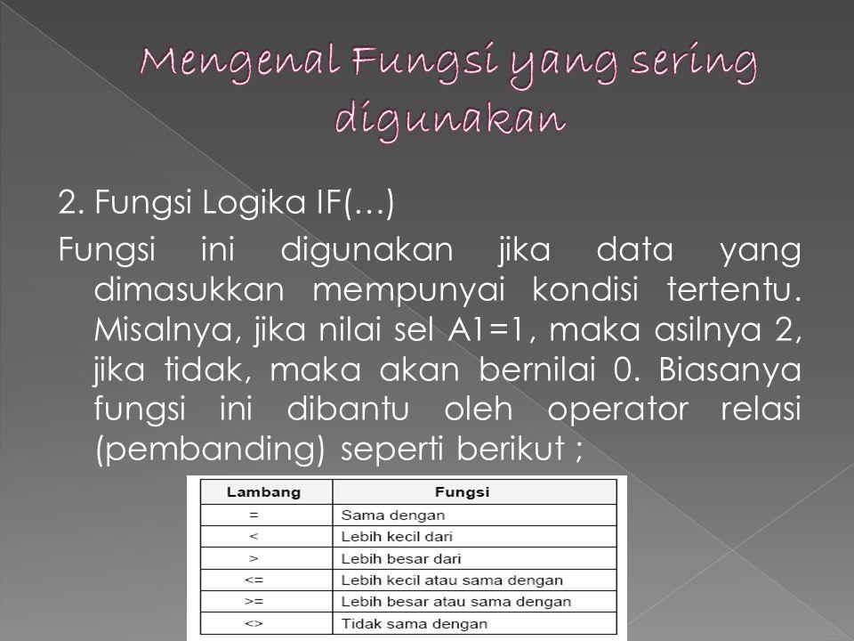 2.Fungsi Logika IF(…) Fungsi ini digunakan jika data yang dimasukkan mempunyai kondisi tertentu.