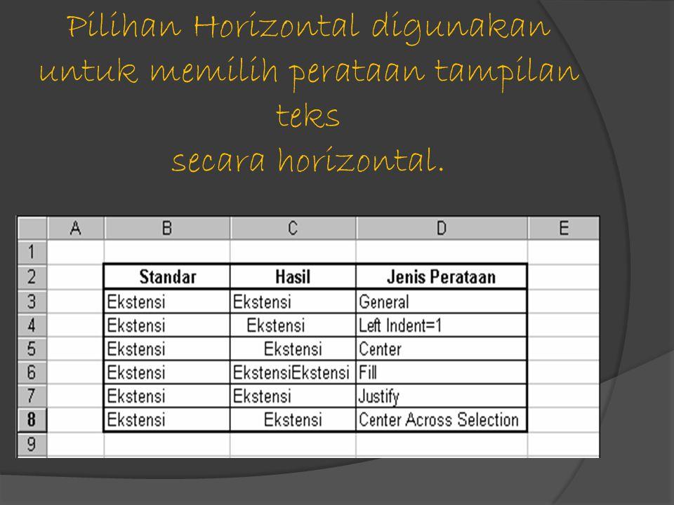Pilihan Horizontal digunakan untuk memilih perataan tampilan teks secara horizontal.