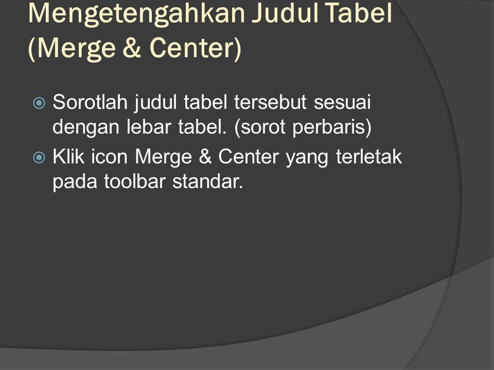 Mengetengahkan Judul Tabel (Merge & Center)  Sorotlah judul tabel tersebut sesuai dengan lebar tabel.