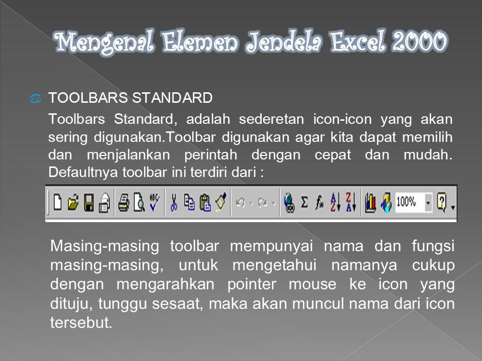  TOOLBARS STANDARD Toolbars Standard, adalah sederetan icon-icon yang akan sering digunakan.Toolbar digunakan agar kita dapat memilih dan menjalankan perintah dengan cepat dan mudah.