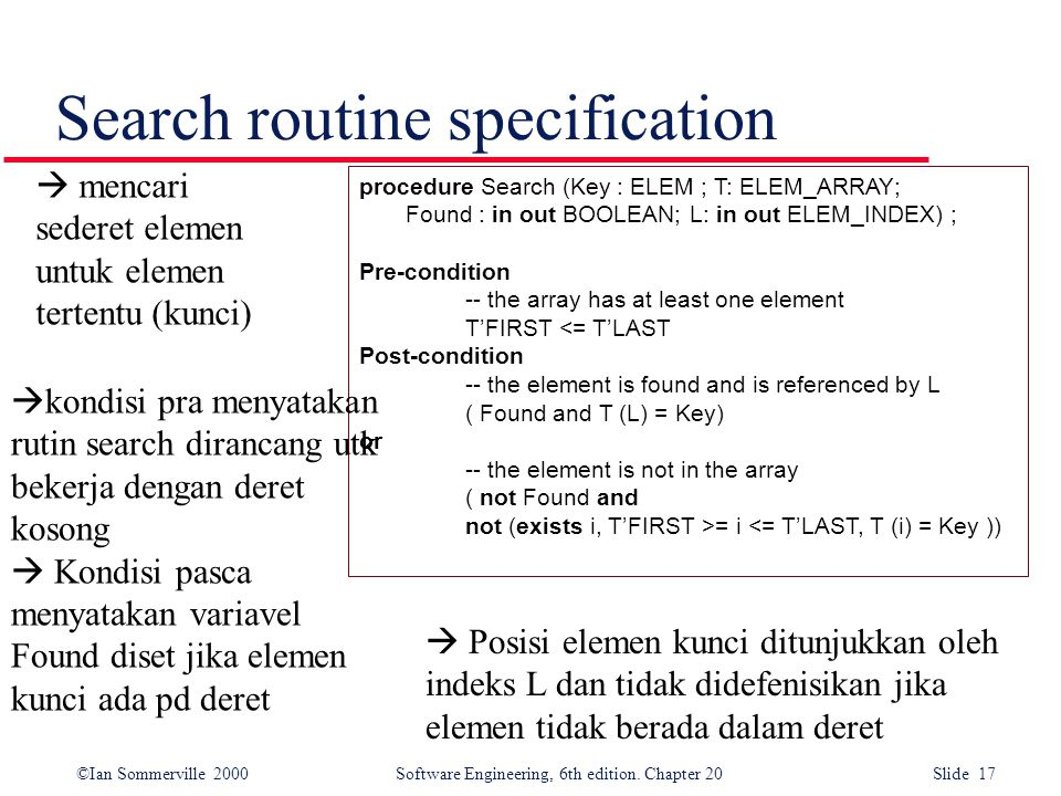 ©Ian Sommerville 2000 Software Engineering, 6th edition. Chapter 20 Slide 17 Search routine specification procedure Search (Key : ELEM ; T: ELEM_ARRAY
