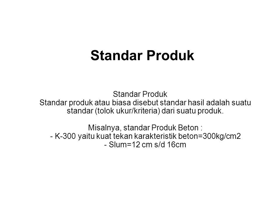 Standar Produk Standar Produk Standar produk atau biasa disebut standar hasil adalah suatu standar (tolok ukur/kriteria) dari suatu produk. Misalnya,