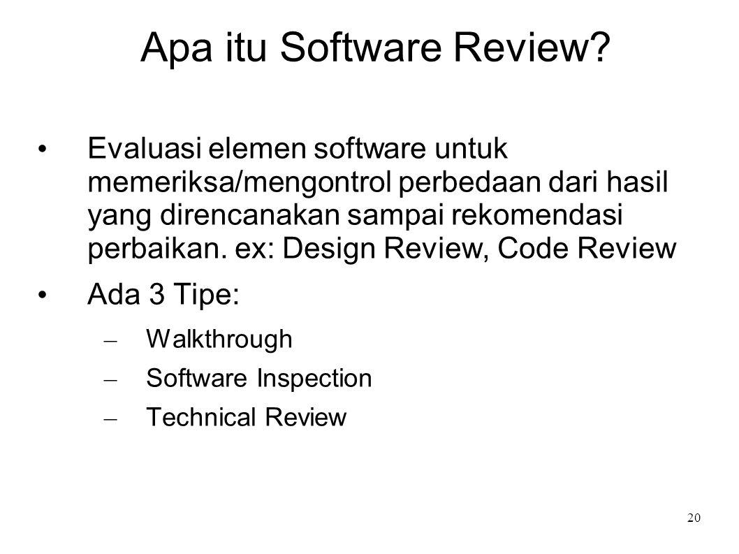 20 Apa itu Software Review? Evaluasi elemen software untuk memeriksa/mengontrol perbedaan dari hasil yang direncanakan sampai rekomendasi perbaikan. e