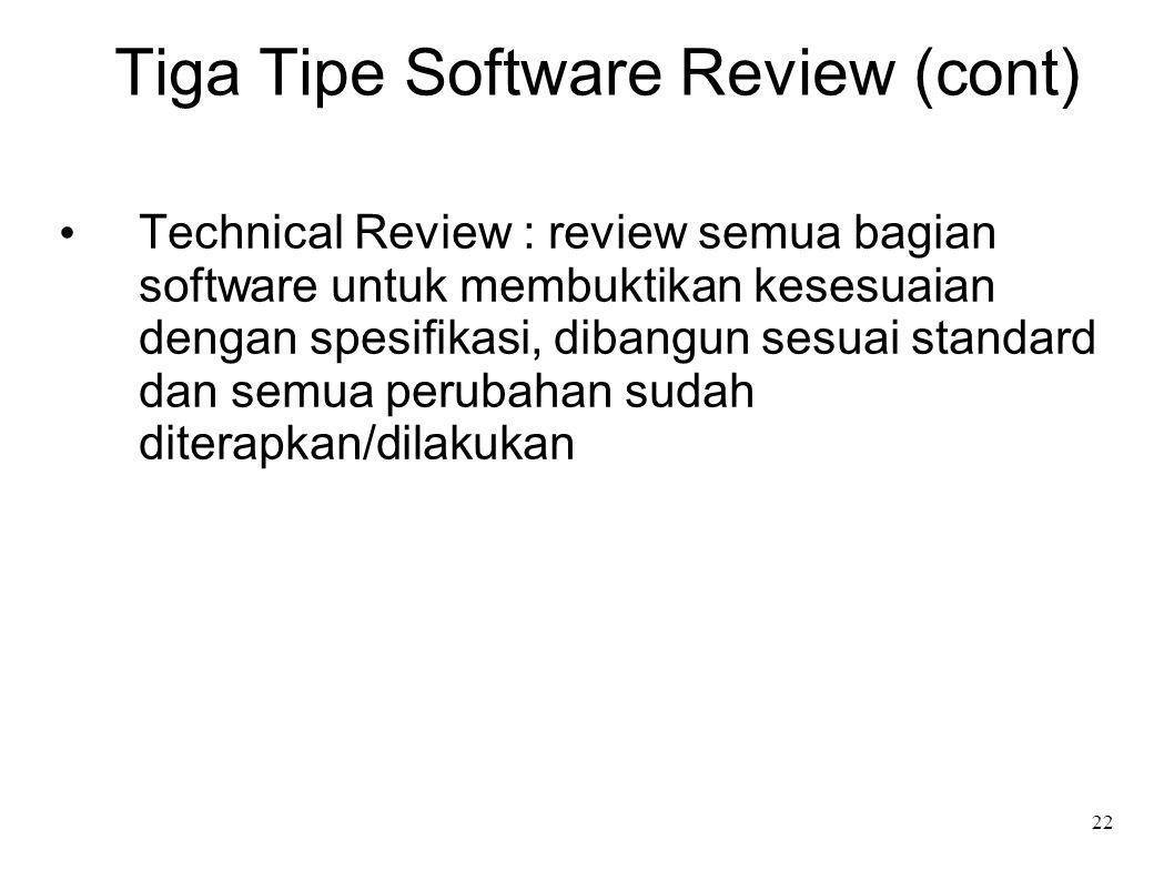 22 Tiga Tipe Software Review (cont) Technical Review : review semua bagian software untuk membuktikan kesesuaian dengan spesifikasi, dibangun sesuai s