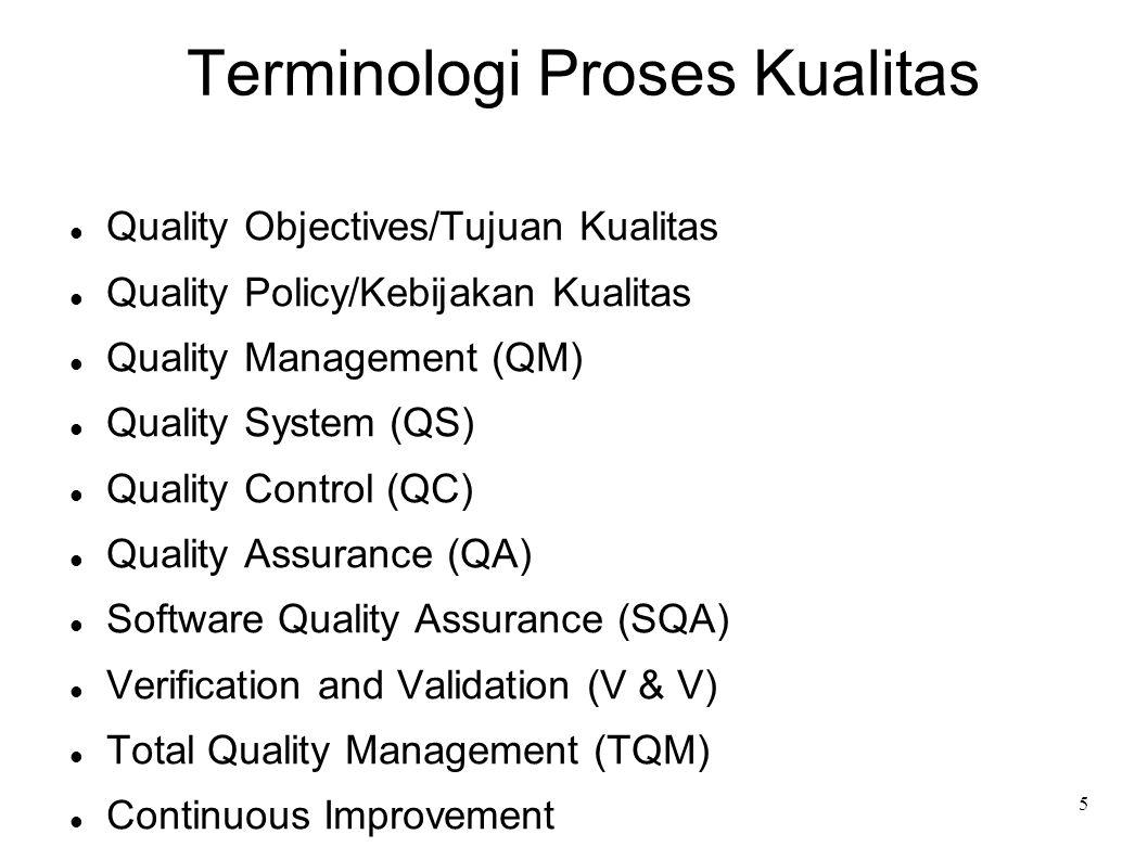 5 Terminologi Proses Kualitas Quality Objectives/Tujuan Kualitas Quality Policy/Kebijakan Kualitas Quality Management (QM) Quality System (QS) Quality