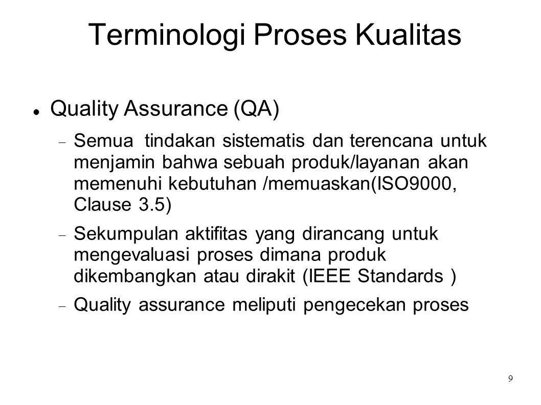 9 Terminologi Proses Kualitas Quality Assurance (QA)  Semua tindakan sistematis dan terencana untuk menjamin bahwa sebuah produk/layanan akan memenuh