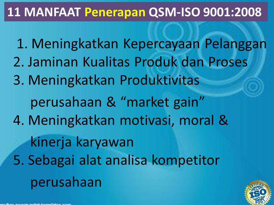 """1. Meningkatkan Kepercayaan Pelanggan 2. Jaminan Kualitas Produk dan Proses 3. Meningkatkan Produktivitas perusahaan & """"market gain"""" 4. Meningkatkan m"""