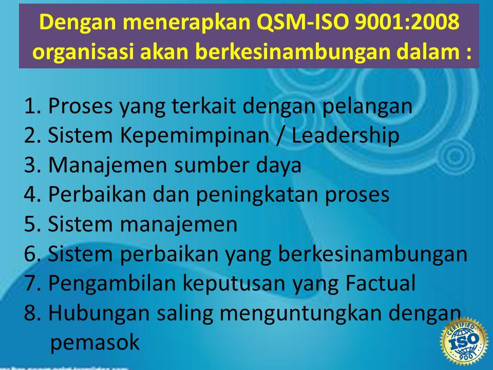 1. Proses yang terkait dengan pelangan 2. Sistem Kepemimpinan / Leadership 3. Manajemen sumber daya 4. Perbaikan dan peningkatan proses 5. Sistem mana