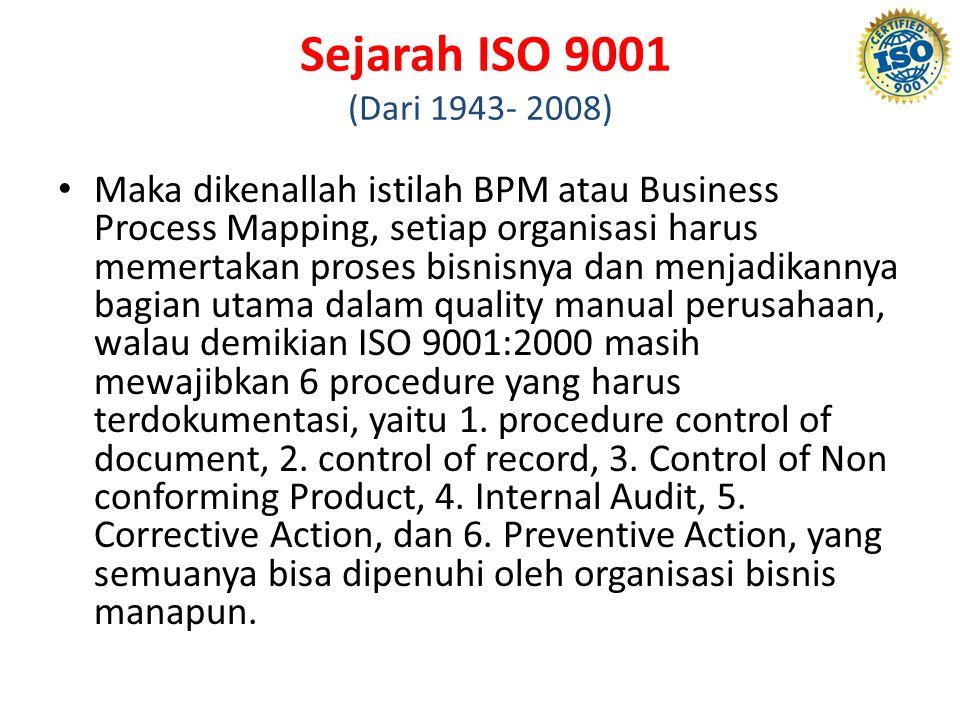 Sejarah ISO 9001 (Dari 1943- 2008) Maka dikenallah istilah BPM atau Business Process Mapping, setiap organisasi harus memertakan proses bisnisnya dan menjadikannya bagian utama dalam quality manual perusahaan, walau demikian ISO 9001:2000 masih mewajibkan 6 procedure yang harus terdokumentasi, yaitu 1.