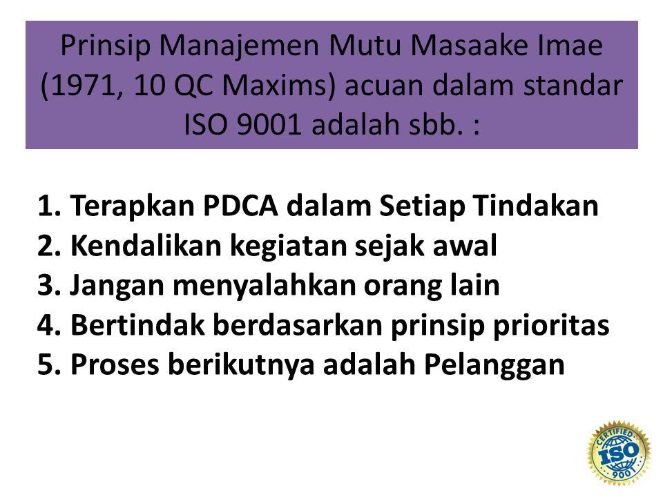 1.Terapkan PDCA dalam Setiap Tindakan 2. Kendalikan kegiatan sejak awal 3.