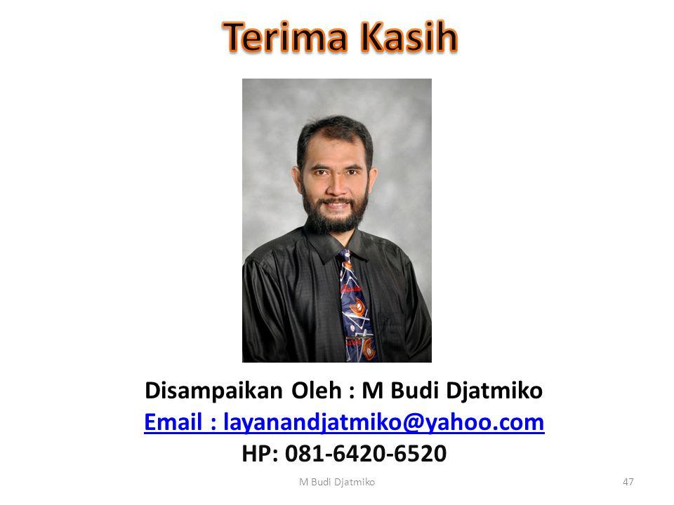 Disampaikan Oleh : M Budi Djatmiko Email : layanandjatmiko@yahoo.com HP: 081-6420-6520 47M Budi Djatmiko