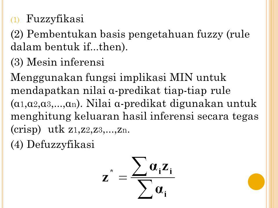 S OLUSI : VARIABEL FUZZY YG AKAN DIMODELKAN [R2] IF Permintaan TURUN And Persediaan SEDIKIT THEN Produksi Barang BERKURANG; α-predikat 2 = µ PmtTURUN ∩  PsdSEDIKIT = min(µ PmtTURUN (4000),µ PsdSEDIKIT (300)) = min(0,25; 0,6) = 0,25 Lihat himpunan Produksi Barang BERKURANG, (7000-z)/5000 = 0,25 ---> z2 = 5750