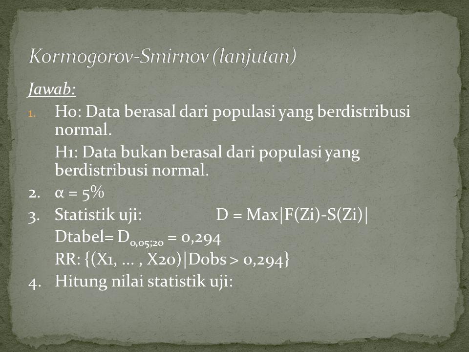 Jawab: 1. Ho: Data berasal dari populasi yang berdistribusi normal.