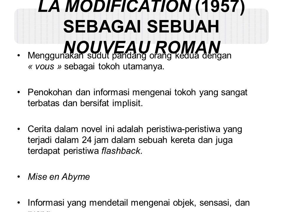 LA MODIFICATION (1957) SEBAGAI SEBUAH NOUVEAU ROMAN Menggunakan sudut pandang orang kedua dengan « vous » sebagai tokoh utamanya. Penokohan dan inform