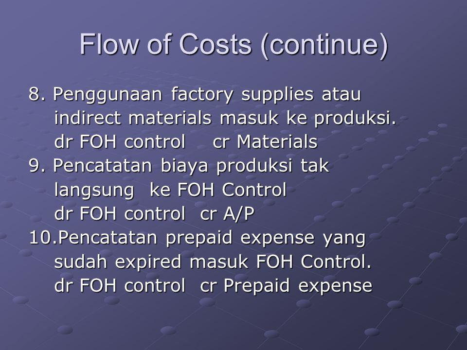 Flow of Costs (continue) 8. Penggunaan factory supplies atau indirect materials masuk ke produksi. indirect materials masuk ke produksi. dr FOH contro