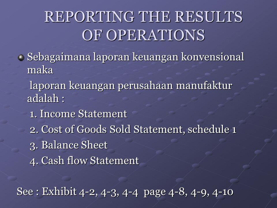 REPORTING THE RESULTS OF OPERATIONS Sebagaimana laporan keuangan konvensional maka laporan keuangan perusahaan manufaktur adalah : laporan keuangan pe