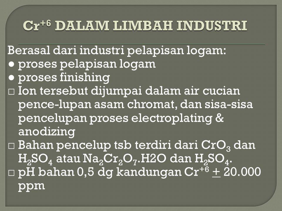 Ferrosulfat (FeSO 4 )  Natrium metabisulfit (Na 2 S 2 O 5 )  Sulfur dioksida (SO 2 ) □ Ferrosulfat dan natrium metabisulfit dapat dibubuh-kan secara kering maupun dalam bentuk larutan □ Sulfur dioksida didifusikan langsung ke dalam air dari tabung gas □ Reduksi chroom hexavalen sangat effektif dalam suasana asam, sehingga reduktor yang digunakan sebaiknya yang bersifat asam.