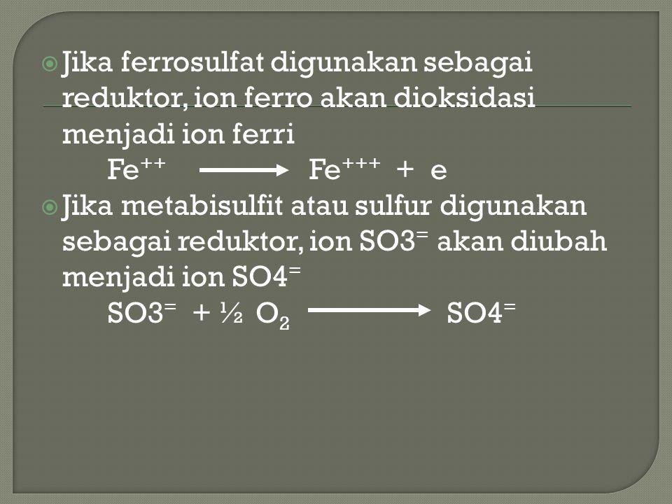  Reduksi Cr+6 dalam reaksi oksidasi-reduksi dengan ferrosulfat akan mengubah ion chrom menjadi chromtrivalen (Cr +3 )  Ion Ferro akan dioksidasi menjadi ion Ferri 2 Cr +6 + 3FeSO 4 Cr 2 (SO4) 3 + 3Fe +3 + 3e - Reaksi akan berlangsung secara cepat pada pH < 3.