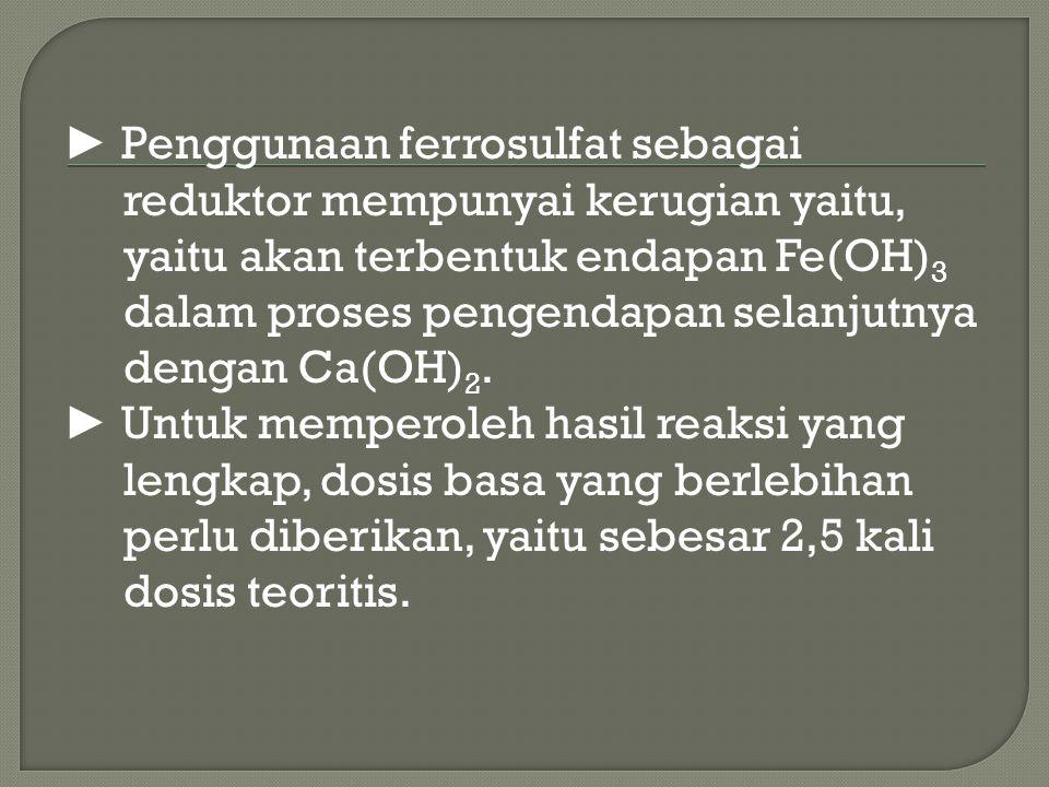 ► Penggunaan ferrosulfat sebagai reduktor mempunyai kerugian yaitu, yaitu akan terbentuk endapan Fe(OH) 3 dalam proses pengendapan selanjutnya dengan