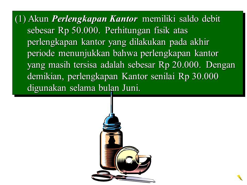 (1) Akun Perlengkapan Kantor memiliki saldo debit sebesar Rp 50.000. Perhitungan fisik atas perlengkapan kantor yang dilakukan pada akhir periode menu