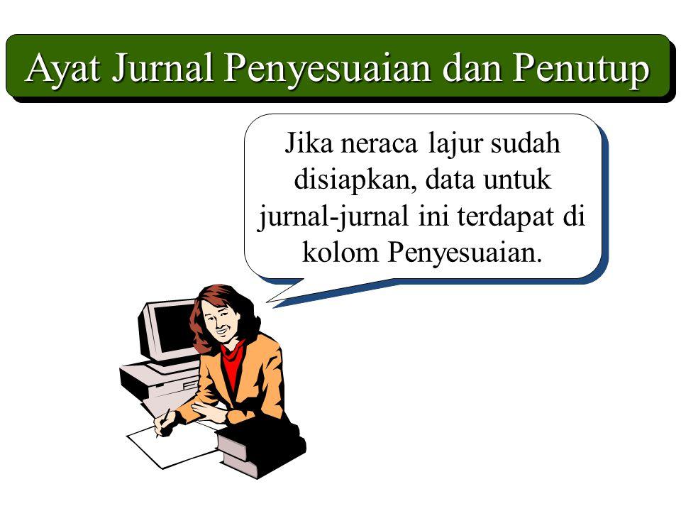 Ayat Jurnal Penyesuaian dan Penutup Jika neraca lajur sudah disiapkan, data untuk jurnal-jurnal ini terdapat di kolom Penyesuaian.