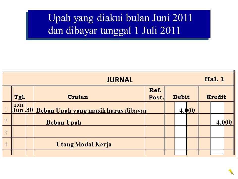 Ref. Post. JURNAL Tgl.UraianDebitKredit Hal. 1 12341234 Jun.30 2011 Beban Upah yang masih harus dibayar 4.000 Beban Upah 4.000 Utang Modal Kerja Upah