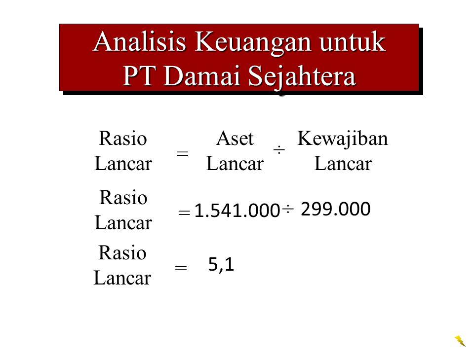 Analisis Keuangan untuk PT Damai Sejahtera Analisis Keuangan untuk PT Damai Sejahtera Rasio Lancar = 1.541.000 ÷ 299.000 Rasio Lancar = Aset Lancar ÷