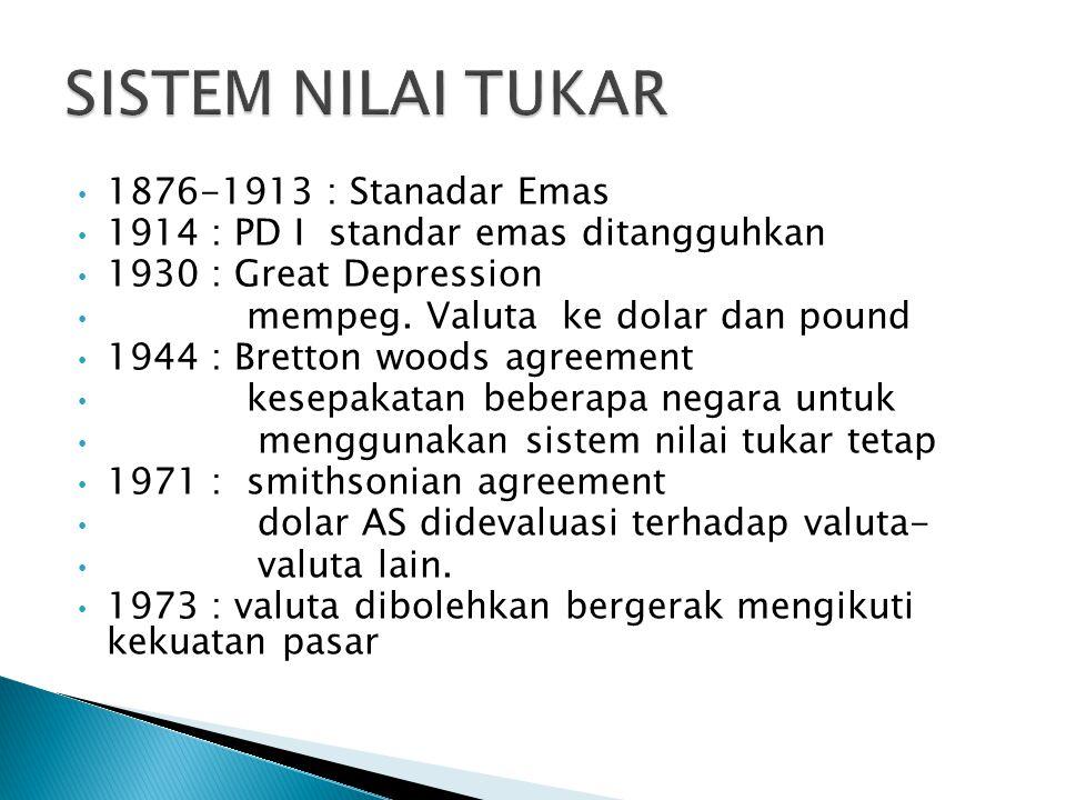 1876-1913 : Stanadar Emas 1914 : PD I standar emas ditangguhkan 1930 : Great Depression mempeg. Valuta ke dolar dan pound 1944 : Bretton woods agreeme
