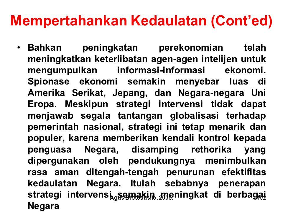 Agus Brotosusilo, 2005.103 3.Posisi Indonesia a.