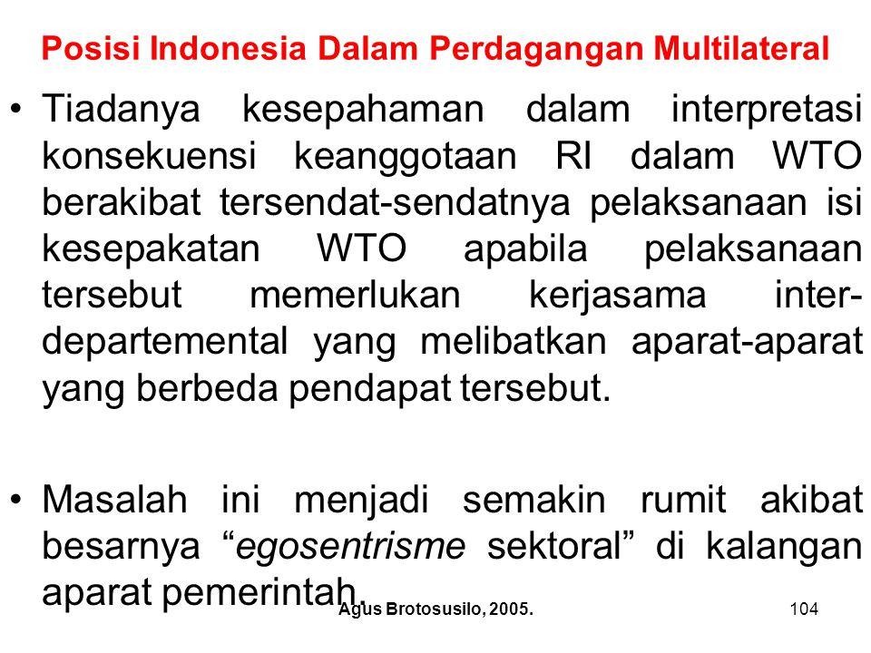Agus Brotosusilo, 2005.105 Posisi Indonesia Dalam Perdagangan Multilateral Sebagaimana telah dikemukakan di atas, hingga saat ini negara ini belum memiliki perundang-undangan yang integral dan komprehensif dibidang perdagangan.