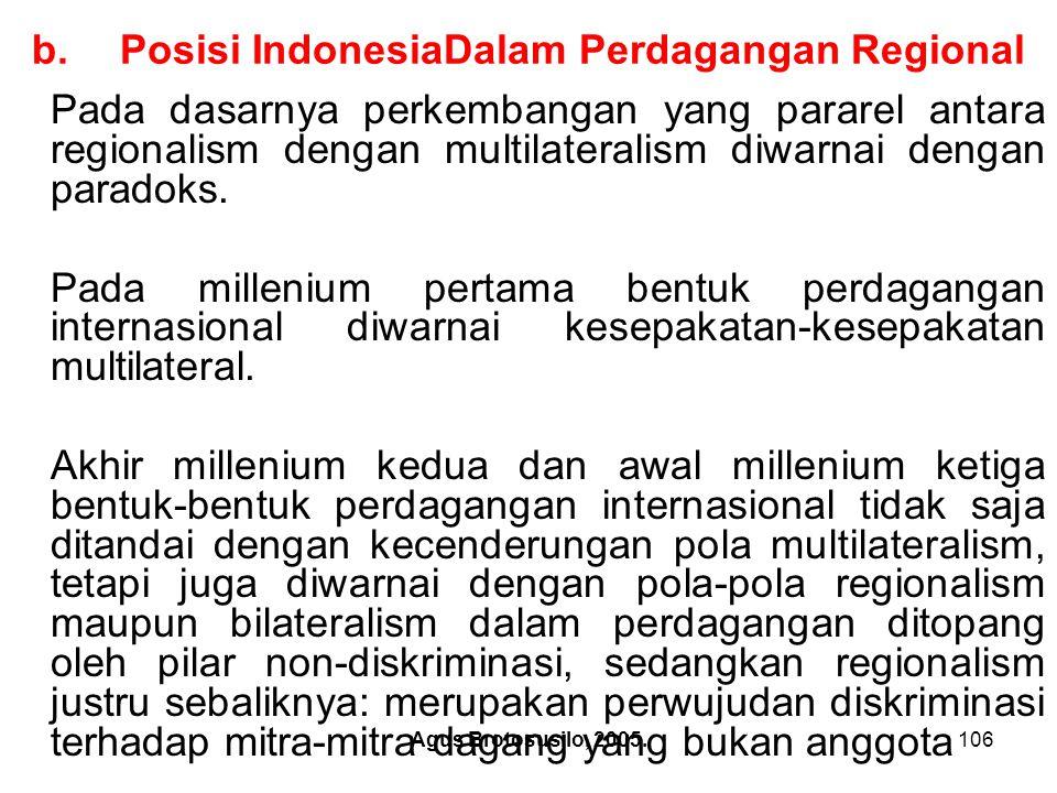 Agus Brotosusilo, 2005.107 Posisi Indonesia Dalam Perdagangan Regional Akibatnya wacana di bidang ini tidak terlepas dari kontradiksi opini tentang hakekat regionalism dan multilateralism: apakah keduanya merupakan lawan yang saling berkompetisi, atau merupakan pasangan yang komplementer.