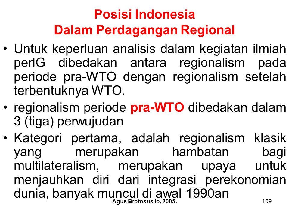 Agus Brotosusilo, 2005.110 Posisi Indonesia Dalam Perdagangan Regional.