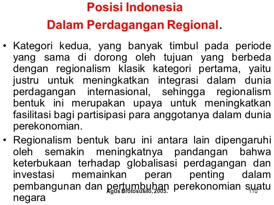 Agus Brotosusilo, 2005.111 Posisi Indonesia Dalam Perdagangan Regional.