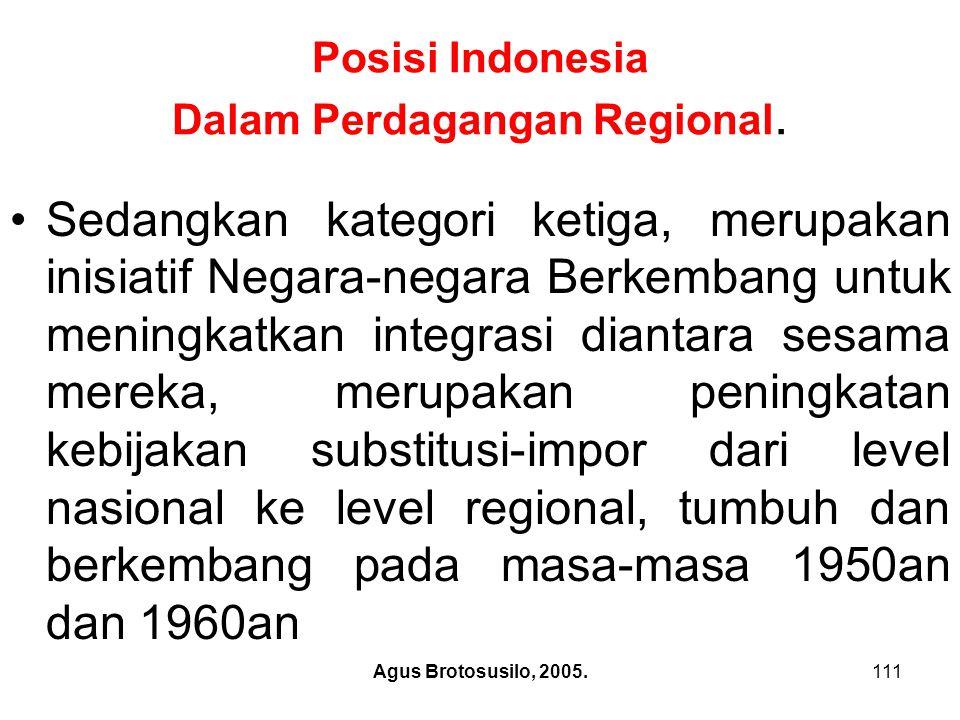 Agus Brotosusilo, 2005.112 Posisi Indonesia Dalam Perdagangan Regional.