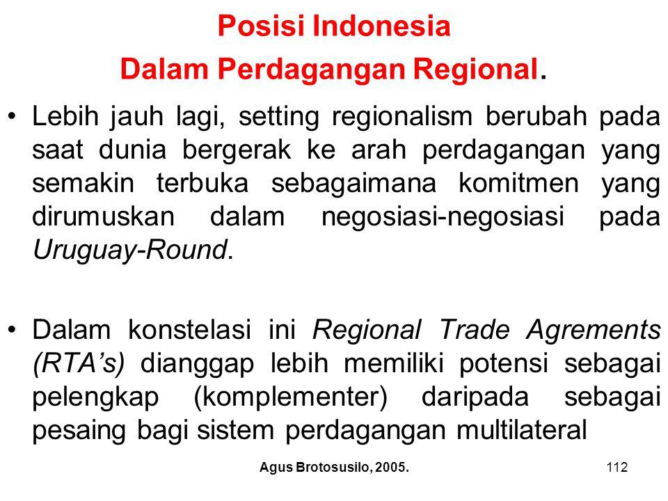 Agus Brotosusilo, 2005.113 Posisi Indonesia Dalam Perdagangan Regional Dengan demikian meskipun tahapan regionalism mutakhir dapat dikategorikan sebagai integrasi yang lebih mendalam, adalah terlalu menyederhanakan permasalahan apabila semua Regional Trade Agrements (RTA's) dianggap sebagai sama.