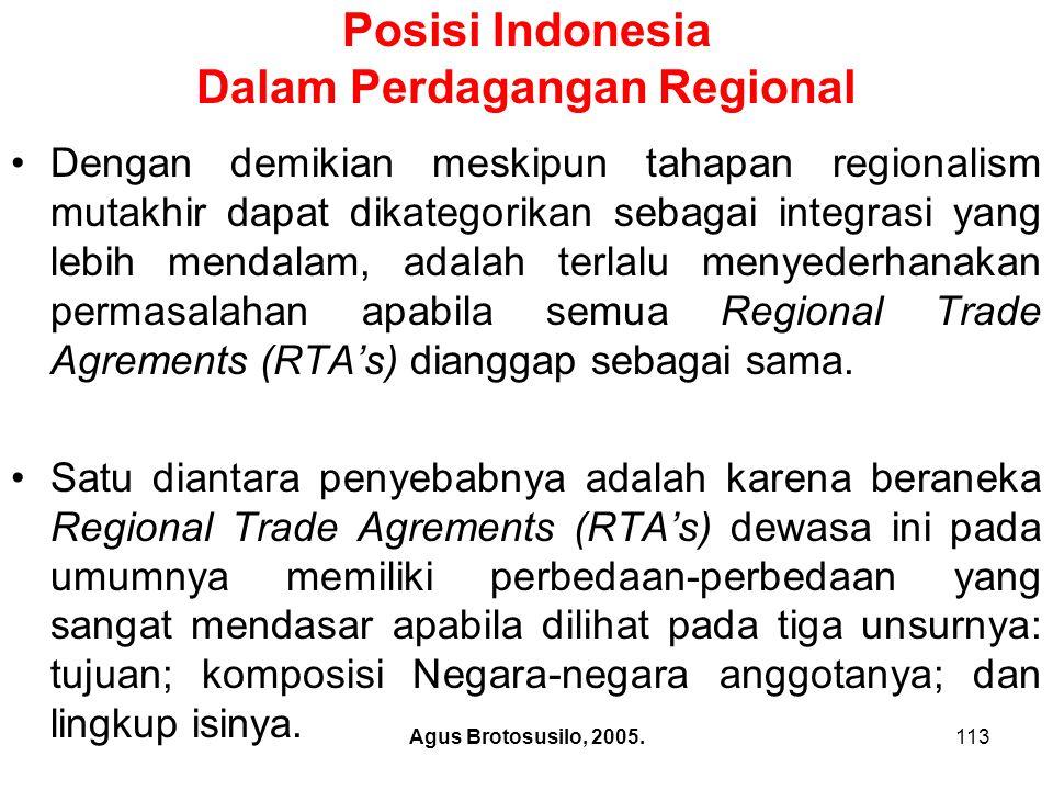 Agus Brotosusilo, 2005.114 Posisi Indonesia Dalam Perdagangan Regional Beraneka-ragam Regional Trade Agrements (RTA's) mutakhir apabila dilihat pada motivasi tujuan pembentukannya dapat dibedakan dari sudut pandang komersiel, ekonomi, strategis, dan politik ekonominya.