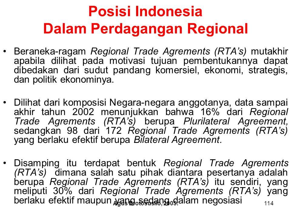Agus Brotosusilo, 2005.115 Dilihat dari luas lingkup isi kesepakatan- kesepakatan dalam beraneka Regional Trade Agrements (RTA's) terdapat suatu bentuk perkembangan regionalism yang pantas mendapatkan perhatian khusus, yaitu apa yang tertuang ke dalam konsep WTO- Plus , yang dirumuskan sebagai indikator apakah suatu agreements merupakan penambahan terhadap hak-hak dan kewajiban-kewajiban dalam WTO, atau penyimpangan dari hak-hak dan kewajiban- kewajiban tersebut.