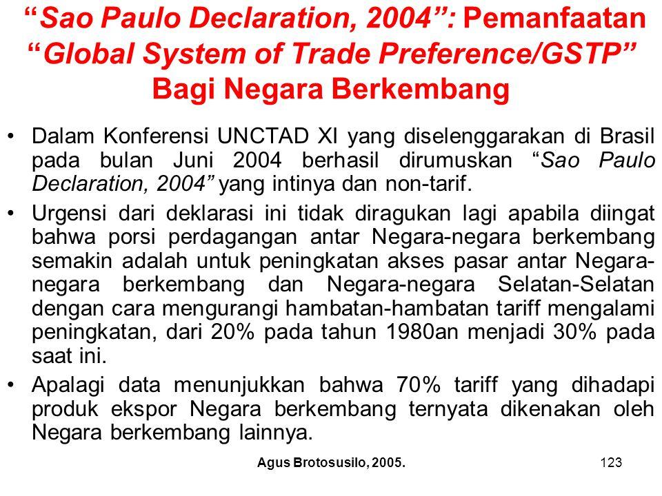 Agus Brotosusilo, 2005.124 Posisi Indonesia Dalam Perdagangan Regional Adapun manfaat Sao Paulo Declaration, 2004 bagi Negara-negara pesertanya antara lain akan ditentukan oleh jenis-jenis produk diantara Negara peserta, apakah saling komplementer, atau saling bersaing karena menghasilkan produk yang sama.