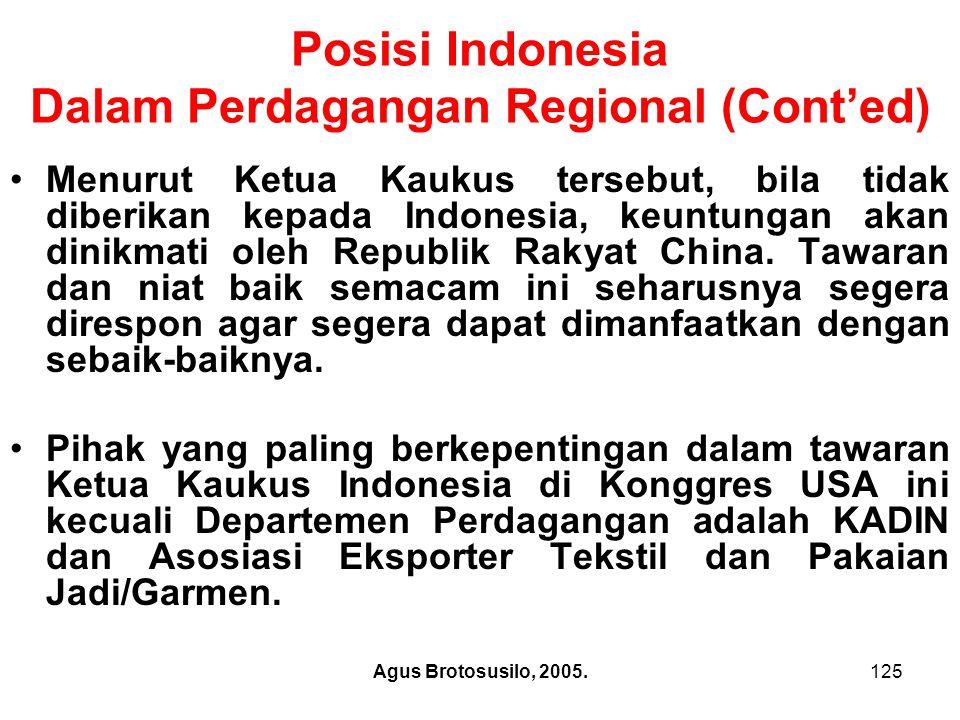 Agus Brotosusilo, 2005.126 Posisi Indonesia Dalam Perdagangan Multilateral: Indonesia Sebagai Ketua G-33 Dalam pertentangan kepentingan antara dua kelompok dalam WTO, posisi Indonesia tidak hanya sekedar sebagai anggota negara berkembang, tetapi negara ini menjadi pelopor negara berkembang, yaitu dengan perannya sebagai ketua G-33.